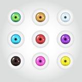 Ojos coloridos de la historieta 3d fijados Fotos de archivo libres de regalías