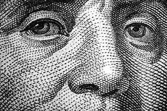 Ojos de Benjamin Franklin Fotos de archivo libres de regalías