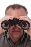 Ojos de la historieta en prismáticos Imagenes de archivo