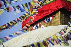 Ojos de la sabiduría, Bodhnath, Nepal fotografía de archivo