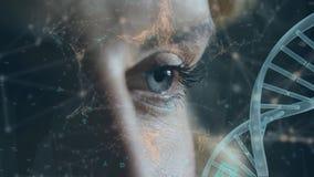 Ojos de una mujer y del doble hélice de la DNA con las líneas asimétricas y los símbolos futuristas stock de ilustración