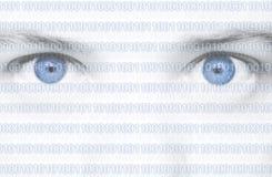 Ojos del código binario Imagen de archivo
