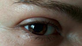 Ojos del centelleo del cierre de la muchacha para arriba almacen de metraje de vídeo