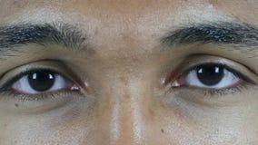 Ojos del centelleo del hombre almacen de metraje de vídeo