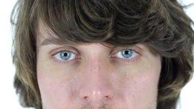 Ojos del centelleo del hombre almacen de video