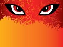 Ojos del diablo en el fondo del fuego ilustración del vector