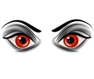 Ojos demoníacos malvados del diablo rojo Imagen de archivo libre de regalías