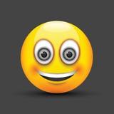 Ojos grandes sonrientes del gris del emoji Fotos de archivo