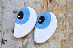 Ojos hechos de la madera Fotos de archivo