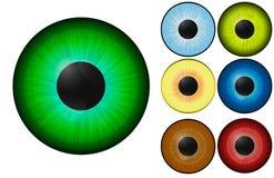Ojos humanos realistas, en el fondo blanco con diversos colores imagen - EPS 10 Fotos de archivo