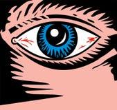 Ojos inyectados en sangre que le miran imagenes de archivo