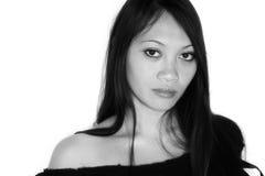Ojos marrones tristes de una mujer Fotos de archivo libres de regalías