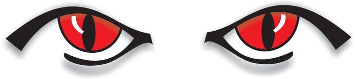 Ojos rojos espeluznantes ilustración del vector