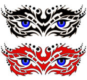 Ojos, tatuaje tribal Fotografía de archivo libre de regalías