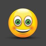 Ojos verdes grandes sonrientes del emoji Imagen de archivo