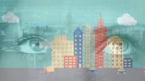Ojos y animación de una ciudad almacen de metraje de vídeo