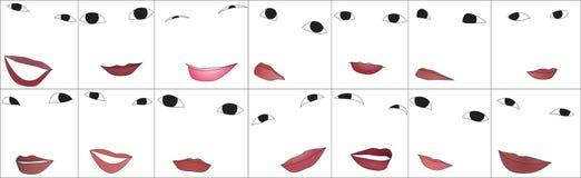 Ojos y labios Stock de ilustración