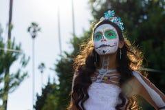 Okänd flicka på den 15th årliga dagen den döda festivalen Royaltyfria Foton