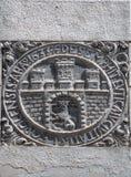 Okänd forntida vapensköld i Lviv, Ukraina Arkivfoton