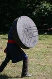 Okänd krigare på en historisk medeltida stridshow Royaltyfria Foton