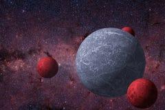 Okänd planet och dess naturliga satelliter runt om den royaltyfri illustrationer
