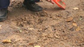 Okänt barn som spelar med sand i sandlåda arkivfilmer