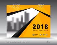 Okładkowy kalendarza 2018 szablon Koloru żółtego okładkowy układ Biznesowy broszurki ulotki projekt Obrazy Royalty Free