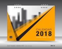 Okładkowy kalendarza 2018 szablon Koloru żółtego okładkowy układ korporacyjny pomysł Obraz Stock