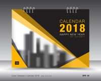 Okładkowy kalendarza 2018 szablon Koloru żółtego okładkowy układ plakat Obraz Royalty Free