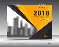 Okładkowy kalendarza 2018 szablon Koloru żółtego okładkowy układ przemysł ulotka Obraz Royalty Free