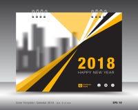 Okładkowy kalendarza 2018 szablon Koloru żółtego okładkowy układ Sprawozdanie roczne Obrazy Stock