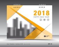 Okładkowy kalendarza 2018 szablon Koloru żółtego okładkowy układ Sprawozdanie roczne Fotografia Stock
