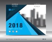 Okładkowy kalendarza 2018 szablon Książkowa pokrywa Biznesowy broszurki ulotki projekt Zdjęcia Royalty Free