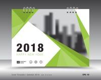 Okładkowy kalendarza 2018 szablon Zielony książkowy układ Biznesowy broszurki ulotki projekt reklama broszura Zdjęcie Stock