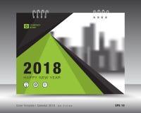 Okładkowy kalendarza 2018 szablon Zielony książkowy układ Biznesowy broszurki ulotki projekt reklama broszura Zdjęcia Stock