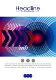 Okładkowy projekta szablon z radiowej fala okręgami i technologii nex Zdjęcie Royalty Free