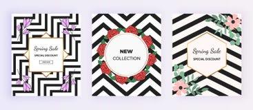Okładkowy sprzedaż projekt z nowożytnym geometrycznym tłem, piękni kwiaty Szablon dla karty, sztandar, ulotka, zaproszenie, przyj royalty ilustracja