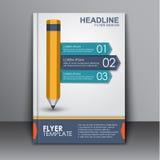 Okładkowy szablon z ołówkiem i faborkiem Zdjęcia Royalty Free