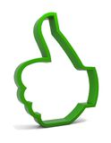 Ok!. Thumbs up symbol. Three-dimensional green icon isolated on white. Part of a series Royalty Free Stock Images