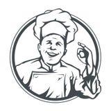 厨师在环形的显示ok 免版税库存照片