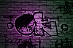 Ok. Picture of wall with graffiti Stock Images