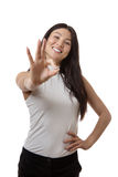 Ok all is good. Business woman showing you she is ok and all is good in the world of business Royalty Free Stock Photo