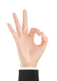 Ok. All right. Ok. Gesture of the hand on white background Royalty Free Stock Photos
