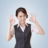 OK. Asian business woman give you OK gesture, close up portrait with clipping path stock photo