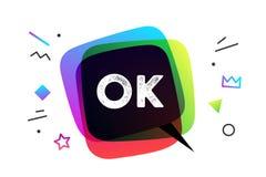 Ok Bannière, bulle de la parole, affiche Image libre de droits