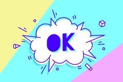 Ok Bannière, bulle de la parole, affiche et concept d'autocollant illustration de vecteur