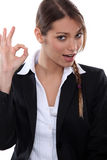 OK from a businesswoman Stock Photography