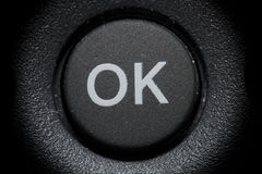 OK button. OK and black button circular inside Stock Photo