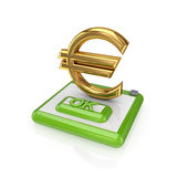 Ok button and euro sign. Isolated on white background.3d rendered Stock Image