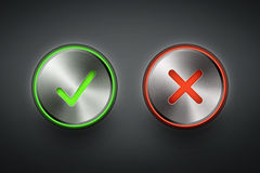 Ok and cancel metal round buttons Stock Image